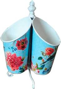 Porta Talher Sweet Flowers Azul em Metal - Urban - 21x15,5 cm