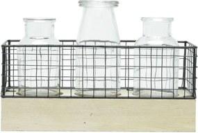 Luminária Vaso Decor Led com Cesta e Garrafas de Vidro