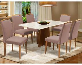 Conjunto Mesa Leticia 1,60 m Off White + 6 Cadeiras Keli Veludo Crepe