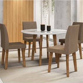 Mesa De Jantar Turmalina Branco com 4 Cadeiras Jade Pena Caramelo Oblongo – RV Móveis