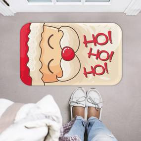 Tapete Decorativo Mdecore Natal Papai Noel HoHoHo Bege40x60cm