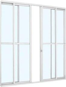 Porta de Correr com Divisão Central Alumínio - 4 Folhas - Branco Alumislim 216x200x6,6cm - 78501022 - Sasazaki - Sasazaki