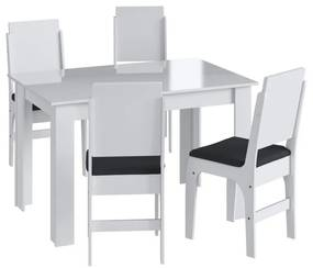 Conjunto Mesa de Jantar CJE1131 Branco/Preto - Móveis Canção