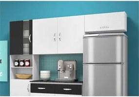 Cozinha Compacta com Balcão 02 Portas Talita Branco/Preto - MoveMax