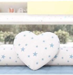 Almofada Azul Coração Estrelinhas 28cm Grão de Gen