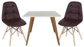 Conjunto Mesa Square Quadrada Branco Fosco 90x90cm + 2 Cadeiras Eiffel Botonê Marrom