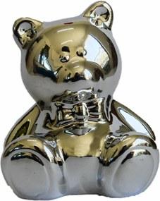 Cofre cerÂmica metalizado - urso prata