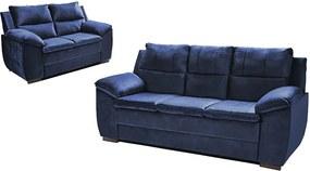 Conjunto De Sofá Com Fibra No Encosto Apogeu 3 E 2 Lugares Tecido Suede Azul - Umaflex