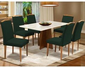 Conjunto Mesa Leticia 1,60 m Off White + 6 Cadeiras Keli Aveludado Verde