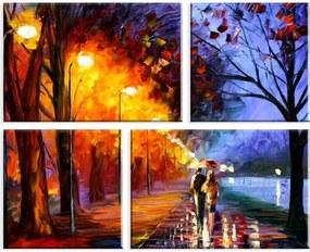 Conjunto de 4 Telas Decorativas Wevans em Canvas 83x103 Paisagem Multicolorido