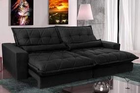 Sofa Retrátil E Reclinável 2,12m Com Molas Ensacadas Cama Inbox Soft Tecido Suede Preto