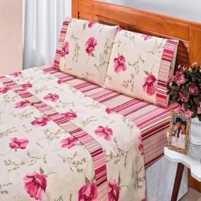 Jogo De Cama Bia Enxovais Casal Queen Requinte 4 Peças Percal 180 Fios Floral Vermelho,