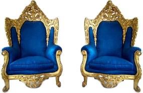 Par De Poltronas Imperial Dourado Tecido Azul