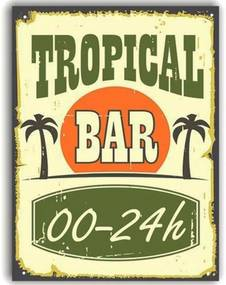 Placa Decorativa de Metal Tropical Bar 30 x 20 cm