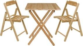 Conjunto Beet Teca 1 Mesa + 2 Cadeiras - Tramontina