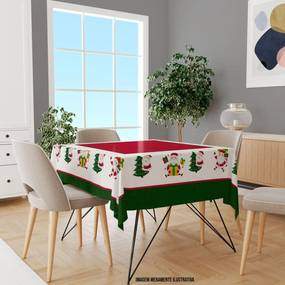Toalha de Mesa Quadrada Para 4 Lugares Papai Noel 1.45m x 1.45m Único
