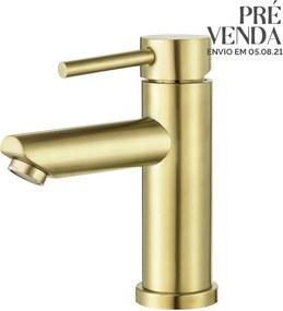 Torneira Monocomando Baixa para Banheiro Inox (Lis Dourada)