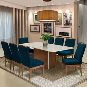 Conjunto Mesa Jade 2,08 m Off White + 8 Cadeiras Lara Veludo Azul Marinho