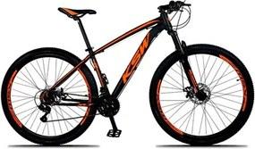 Bicicleta XLT Aro 29 Quadro 21 Alumínio 21 Marchas Suspensão Freio Disco Preto/Laranja - KSW