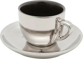 Jogo Xícaras Chá Porcelana 6 Peças Com Pires Preto E Prata Versa 220ml 35531 Wolff