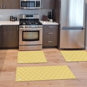 Kit com 3 Tapetes de Cozinha Mdecore Abstrato Amarelo Único