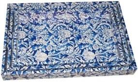 Conjunto Bandejas de Bambu Azul Flores 3 peças