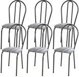Kit 06 Cadeiras Tubular Cromo Preto 004 Assento Linho