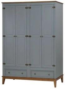 Armario Malibu 4 Portas e 2 Gavetas cor Cinza com Amendoa 204 cm - 63657 Sun House