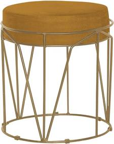 Puff Decorativo Sala de Estar Base Gold Chloe Suede Mostarda - Gran Belo