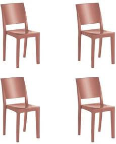 Kit 4 Cadeiras Hidra Plus em Polipropileno Kappesberg - Terracota