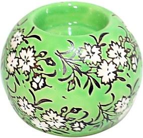 Castiçal Decorativo em Porcelana Redondo Verde Florido