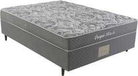 Cama Box Casal Conjugada Herval Oregon Black, Molas Bonnel, 138 cm