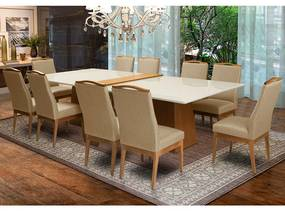 Conjunto 2 Mesa Luiza Off White 1,35 m + Aparador Luiza  + Cadeiras Lara Linho/Poliéster Marrom Nude 10 Lugares