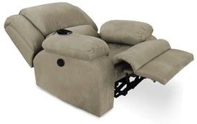Poltrona Decorativa Magnum Reclinável Elétrica com Massagem Suede Nude