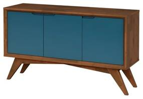 Buffet Serafim 3 Portas Pinhão e Azul - Wood Prime MP 27627