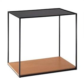 Mesa de Apoio Square 60cm Aço Preto/Marfim - Gran Belo