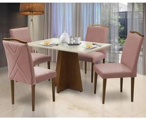 Conjunto Mesa Leticia 1,20 m Off White + 4 Cadeiras Lorena Veludo Crepe