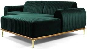 Sofá 3 Lugares com Chaise Base de Madeira Euro 245 cm Veludo Verde - Gran Belo