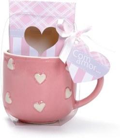 Caneca Cerêmica Com Coração 9Cm Rosa