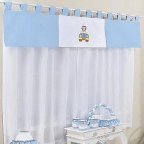 Cortina Quarto de Bebê Safari Azul 3 Peças