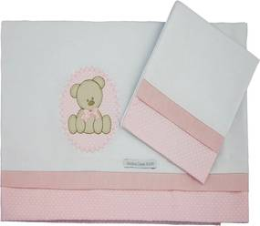 Lençol de Mini Berço Malha - Minha Casa Baby - Urso Bolacha Bolacha - Rosa