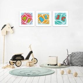 Kit 3 Quadros Decorativos MDF Infantil Dado Colorido25x25cm