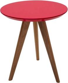 Mesa de Apoio Square Redonda Baixa Vermelha - 45x54cm