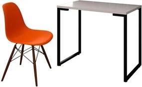 Mesa Escrivaninha Fit 90cm Branco e Cadeira Charles Laranja - Mpozenato