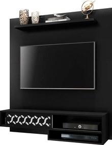 Painel Suspenso 1.2 para TV de até 50'' Sala de Estar Yoko Preto Texturizado - Gran Belo