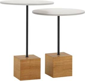 Conjunto 2 Mesas Lateral Table Redonda - Wood Prime OC 27503