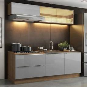Cozinha Completa Madesa Lux com Armário e Balcão 5 Portas 2 Gavetas Rustic/Cinza Cor:Rustic/Cinza