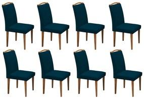 Conjunto 8 Cadeira Sala de Jantar Keli Veludo Azul Marinho