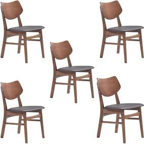 Kit 5 Cadeiras Decorativas Sala e Escritório Zion Madeira Nogueira (PU) Preto - Gran Belo