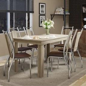 Conjunto Sala de Jantar com Mesa Topaco e 6 Cadeiras Cromada, Napa Cacau, Prime
